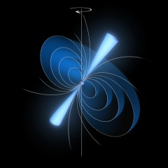 This illustration shows a pulsar with glowing cones of radiation stemming from its magnetic poles – a state referred to as 'radio-bright' mode. 