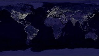 This composite image shows a global view of Earth at night, compiled from over 400 satellite images. New research shows that major cities, which generally...