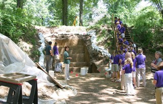 A group of school students visits the Washington University excavations of Mound A at Poverty Point. While doing work at the site, researchers collaborate...