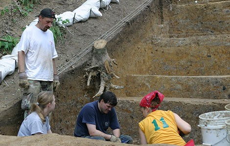 Study co-authors Anthony Ortmann (standing) and T.R. Kidder (center) evaluate the Mound A excavations at Poverty Point. Katherine Adeslberger (then a Washington University graduate student, now professor at Knox College (seated left) and Rachel Bielitz (then a Washington University undergraduate student) look on.