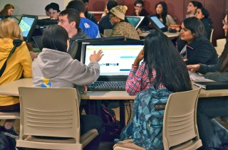 Life sciences students in new high-tech active learning classroom at Arizona State University