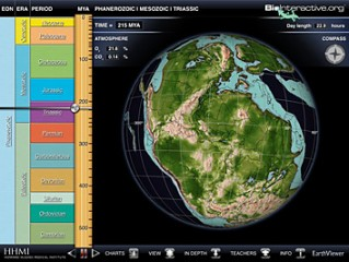 EarthViewer shows continental arrangements as they shift through time—including Pangea from 215 million years ago.