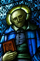 A stained glass image is displayed at DePaul University's Loop Campus in Chicago. The Vincentian Studies Institute at DePaul has launched an online research...