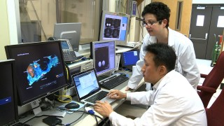 Drs. Helene Benveniste and Hedok Lee view a contrast enhanced MRI image of the glymphatic pathway, which clears harmful wastes from the brain.