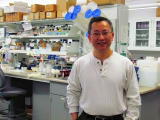 Dr. Peter Zhou found that triple-negative breast cancer cells are missing a key enzyme that other cancer cells contain.
