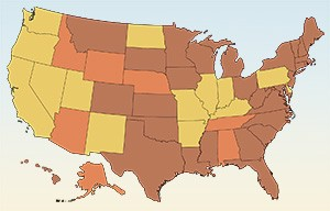 By 1975, many states had lowered the minimum legal drinking age from 21 (shown in yellow) to 18 (brown) or 19 (orange).