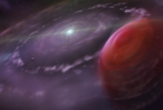 Artist's rendering of the planetary system HR 8799 at an early stage in its evolution, showing the planet HR 8799c, as well as a disk of gas and dust,...