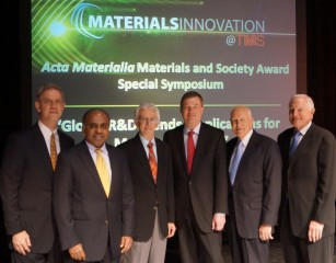 From left: Kevin Hemker of Johns Hopkins University served as TMS Chair and organizer for the Acta Materialia Materials and Society Award Special Symposium,...