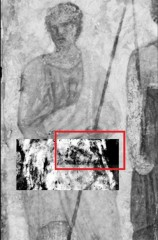Terahertz rays unveil for the first time a hidden image (red box) of a man's face under the surface of a famous fresco, or mural, in Paris' Louvre...