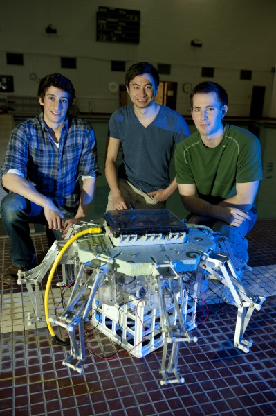 Left to right, robotic jellyfish research team members Alex Villanueva of St-Jacques, New-Brunswick, Canada, and a doctoral student; and Kenneth Marut of Washington, D.C, and Tyler Michael of Lexington, N.C., both masters students, all in the mechanical engineering program.