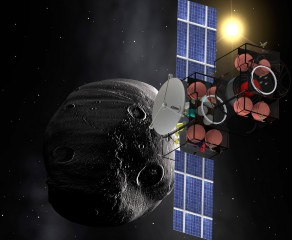 An intercept satellite races toward an asteroid. Studies by Iowa State University's Bong Wie indicate such a vehicle could blast apart asteroids that threaten...