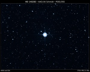 This is a Digitized Sky Survey image of the oldest star with a well-determined age in our galaxy. The aging star, cataloged as 
