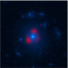 South Pole Telescope-discovered galaxy observed by ALMA and Hubble Space Telescope (HST). The massive central galaxy (in blue, seen by HST) bends the light...