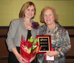 (L - R) 2013 Senior Scientist Award winner Linda Janusek, PhD, RN, FAAN, celebrates with Loyola University Chicago Marcella Niehoff School of Nursing Dean...