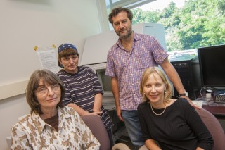 The team of researchers studying the effects of gold nanoparticles on the body, pictured from left to right (sitting) Marcia Simon, Tatsiana Mironava,...