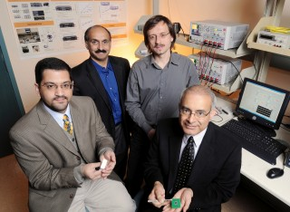 Georgia Tech researchers Muhannad Bakir, Andrei Fedorov, Yogendra Joshi and Suresh Sitaraman are developing three-dimensional chip cooling technology designed...