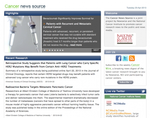 Newswise: National Cancer Institute (NCI) at NIH Creates Comprehensive Cancer News Source with Newswise