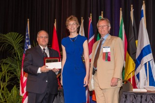 From left: Richard Gamelli, MD, Loyola University Health System, was awarded the President's Leadership Award from Tina Palmieri, MD, president, and Michael...
