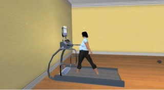 An avatar demonstrates walking at a moderate pace on a treadmill, a skill that can help with weight control.