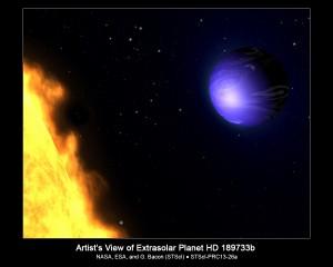 ARTIST'S IMPRESSION OF BLUE PLANET HD 189733b.  