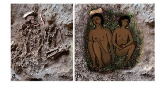 (l) Field photograph of two skeletons (adult on left, adolescent on right) during excavation. (r) Reconstruction of the double burial at the time of inhumation....