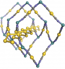 A representation of zinc dicyanoaurate showing a spring-like gold helix embedded in a flexible honeycomb-like framework. (Grey balls are carbon atoms,...