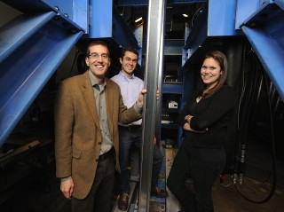 Researcher Ben Schafer (left), doctoral student Kara Peterman (right) and former graduate student Luiz Vieira study how seismic forces affect mid-rise...