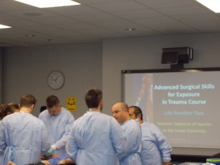 Medical students and staff at Loyola University Stritch School of Medicine use the new Advanced Procedure Education Center to perfect surgical skills.