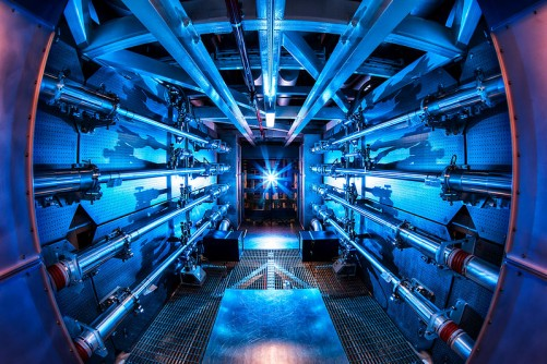 The preamplifiers of the National Ignition Facility. The unified lasers deliver 1.8 megajoules of energy and 500 terawatts of power—1,000 times more than the United States uses at any one moment.