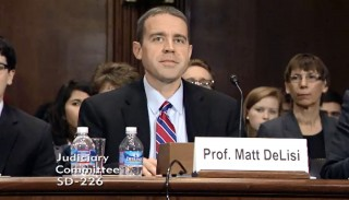 Iowa State professor Matt DeLisi testifies before the Senate Judiciary Committee about recommendations to reduce the prison population.