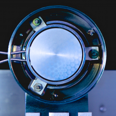 View into the test generator, looking at the emitter (~ 3 cm diameter).