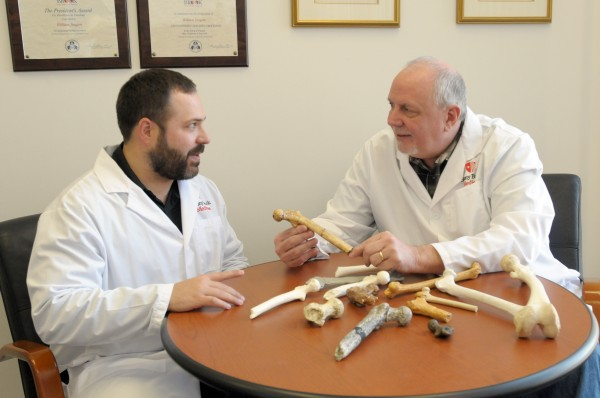 Stony Brook University paleoanthropologists Sergio Almécija, left, and William Jungers compare the femur of Orrorin tugenensis to other ape and hominin fossils.