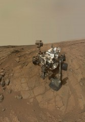 "Self portrait of ""Curiosity,"" a NASA Mars rover,  taken on the outcrops that are being published  in the Dec. 9, 2013 online edition of the journal ""Science.""..."
