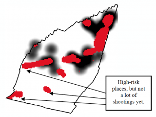 Risk Terrain Modeling map of a township that predicts potential for gun violence.