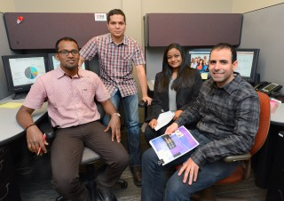 Iowa State graduate students, left to right, Naveen Dhanpal, Mohit Sharma, Avantika Ram and Alex Andrade will lead a team of undergraduate students working...