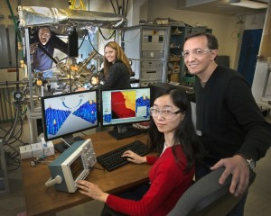 Click on the image to download a high-resolution version. Brookhaven Lab scientists (from left) Kumudu Mudiyanselage, Ashleigh Baber, Fang Xu, and Dario...
