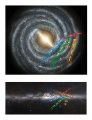 Top and side views of the Milky Way galaxy show the location of four of the new class of hypervelocity stars. These are sun-like stars that are moving...