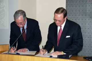 Mississippi State University President Mark E. Keenum, right, and the United Nation's Food and Agriculture Organization Deputy Director General Daniel...