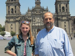 Jordan Burns and Rodolfo Acuna at the Zocalo, the central square in the heart of historic downtown Mexico City.