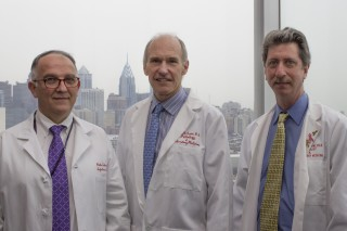University of Pennsylvania Perelman School of Medicine researchers, L-R, Pablo Tebas, MD, Carl June, MD and Bruce Levine, PhD.
