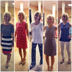 A 2014 James Graham Brown Cancer Center Champion, Teresa Secor tries out finery from Boutique Serendipity.