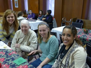 Saint Mary's College students and Sister Jane Frances Reus,