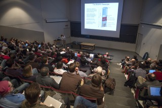 An audience of nearly 200 hear BICEP2 co-leader Clem Pryke, University of Minnesota, present the collaboration's latest and much-discussed cosmology...