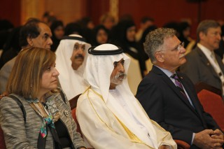 (l-r:) Nada Marie Anid, Ph.D., dean, New York Institute of Technology's (NYIT) School of Engineering and Computing Sciences; His Excellency Sheikh Nahayan...