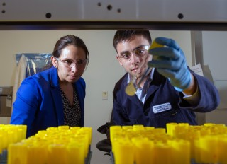 Georgia Tech researchers examine the production of the hydrocarbon pinene in a series of laboratory test tubes. Shown are (l-r) Pamela Peralta-Yahya, an assistant...