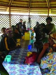 Patients at community hospital treatment centre in Bangui