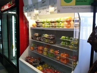 Fresh fruits and vegetables at a convenience store in North Carolina.