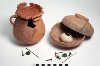 A ritual deposit, found intact beneath a first century Roman house in Sardis. The deposit, found inside two bowls, includes a number of small implements,...