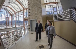 William Hall, architectural supervisor at Physical Facilities, gives a tour of the nearly completed Center of Excellence building at the Innovative Technologies...