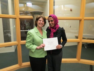 MaryMargaret Sharp-Pucci, EdD, MPH, director of the Health Systems Management Program, and Fatima Elahi at the Gannon Center for Women and Leadership Awards.